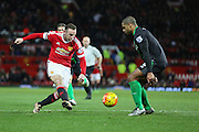 Wayne Rooney of Manchester United shoots at goal during the Barclays Premier League match between Manchester United and Stoke City at Old Trafford, Manchester, England on 2 February 2016. Photo by Phil Duncan.