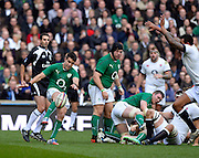 Twickenham Great Britain.  Irelands, Conor MURREY  with a clearance kick during the 2014 RBS Six Nations Rugby; England vs Ireland. Saturday  22/02/2014  [Mandatory Credit; Peter Spurrier/Intersport-images]