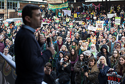 November 12, 2016 - Manchester, Greater Manchester, UK - Manchester , UK . ANDY BURNHAM , MP for Leigh and candidate for Mayor of Greater Manchester , speaks at the rally . Approximately 2000 people march and rally against Fracking in Manchester City Centre  (Credit Image: © Joel Goodman/London News Pictures via ZUMA Wire)