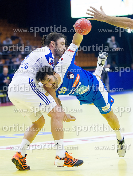 Bertrand Gille of France vs David Spiler of Slovenia during handball match between France and Slovenia in  Main Round of 10th EHF European Handball Championship Serbia 2012, on January 22, 2012 in Spens Hall, Novi Sad, Serbia. (Photo By Vid Ponikvar / Sportida.com)