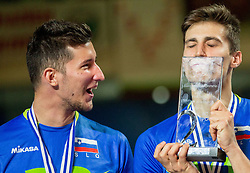 Uros Pavlovic #20 of Slovenia and Klemen Cebulj #18 of Slovenia celebrate at trophy ceremony after placed 2nd after volleyball match between National teams of Slovenia and France at Final match of 2015 CEV Volleyball European Championship - Men, on October 18, 2015 in Arena Armeec, Sofia, Bulgaria. Photo by Vid Ponikvar / Sportida