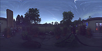 Summertime Night Sky over New Jersey (360 Equirectangular Panorama). Composite of images (22:00-22:59) taken with a Ricoh Theta Z1 camera (ISO 400, dual 2.6 mm fisheye lens, f/2.1, 60 sec). With image alignment in Photoshop CC (scrips,statistics, maximum, align images)