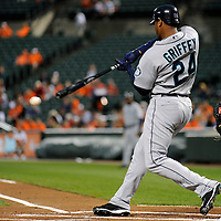 09 June 2009:  Seattle Mariners designated hitter Ken Griffey Jr. (24) grounds out to first base in the 4th inning against the Baltimore Orioles at Camden Yards in Baltimore, MD.  The Orioles defeated the Mariners 3-1.  ****For Editorial Use Only****