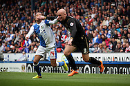 Wigan Athletic&rsquo;s Stephen Crainey holds off Blackburn Rovers&rsquo;  Markus Olsson. Skybet football league championship match, Blackburn Rovers v Wigan Athletic at Ewood Park in Blackburn, England on Saturday 3rd May 2014.<br /> pic by Chris Stading, Andrew Orchard sports photography.