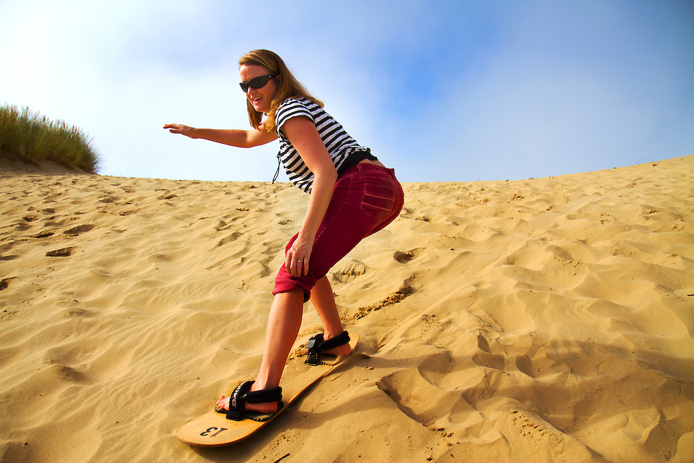 Sandboarding on Kiwanda Point sand dune. The Oregon Coast, a classic, beautiful road trip. Heading West from Portland to Tillamook, with a detour to the fishing village of Garibaldi, through Cape Lookout State Park and on to our final destination of Pacific City.