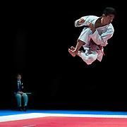 Gakuji Tozaki, Finals, at 2010 USA National Karate Championships.  Gakuji won the silver medal, narrowly losing to Vassar Louie-Bradford