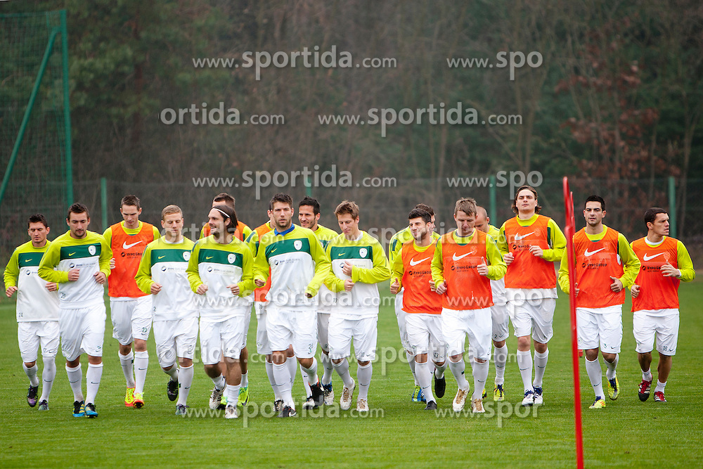 Team Slovenia during the Slovenia training before friendly match between National teams of Slovenia and ZDA at Kidricevo, on  9th November, 2011 in Ptuj, Slovenia (Photo by Urban Urbanc / Sportida Photo Agency)