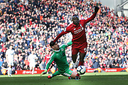 Liverpool forward Sadio Mane (10) rounds Burnley goalkeeper Thomas Heaton (1) to score the final goal of the match 4-2 during the Premier League match between Liverpool and Burnley at Anfield, Liverpool, England on 10 March 2019.