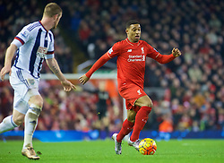LIVERPOOL, ENGLAND - Sunday, December 13, 2015: Liverpool's Jordon Ibe in action during the Premier League match against West Bromwich Albion at Anfield. (Pic by James Maloney/Propaganda)