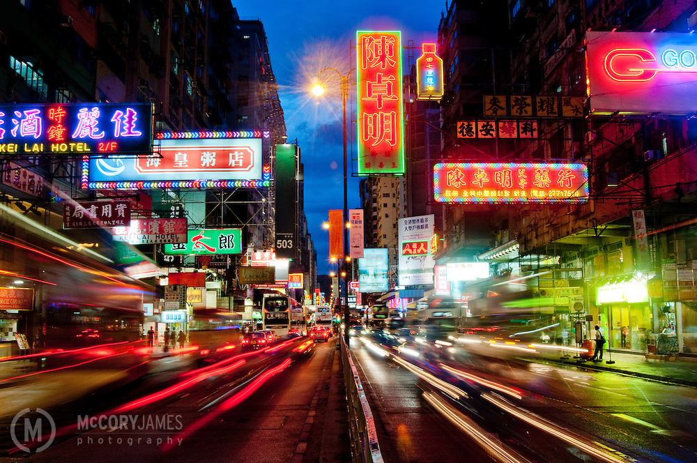 Neon signage on Nathan Road in the Kowloon district of Hong Kong.