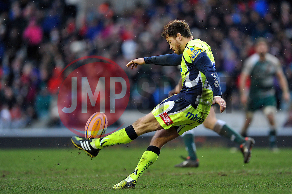 Danny Cipriani of Sale Sharks kicks the ball - Mandatory byline: Patrick Khachfe/JMP - 07966 386802 - 06/02/2016 - RUGBY UNION - Welford Road - Leicester, England - Leicester Tigers v Sale Sharks - Aviva Premiership.
