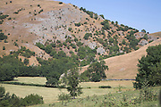 Dry summer conditions in Peak district national park, near Dovedale, Derbyshire, England