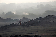 Women scavenge coal from dumping site of an open-cast coal mine in Dhanbad, Jharkhand, India on Dec 5, 2014, tying to earn a few dollars a day. <br /> (Photo by Kuni Takahashi)