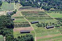 Aerial of farms and fields near the Connecticut River, north of Middletown, CT