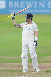 James Kettleborough of Glamorgan celebrates scoring a half-century  - Mandatory byline: Dougie Allward/JMP - 07966386802 - 22/09/2015 - Cricket - County Ground -Bristol,England - Gloucestershire CCC v Glamorgan CCC - LV=County Championship