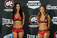 "LONG BEACH, CALIFORNIA, NOVEMBER 1, 2013: Mercedes Terrell and Jade Bryce during the official weigh-in for ""Bellator MMA: Chandler vs. Alvarez II"" inside the Long Beach Convention Center & Arena, California,  (© Martin McNeil)"