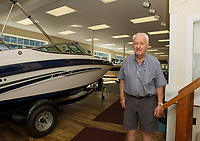 Jack Irwin in the showroom of Irwin Marine on Lake Winnipesaukee in Laconia, NH.  (Karen Bobotas for New England Boating Magazine)