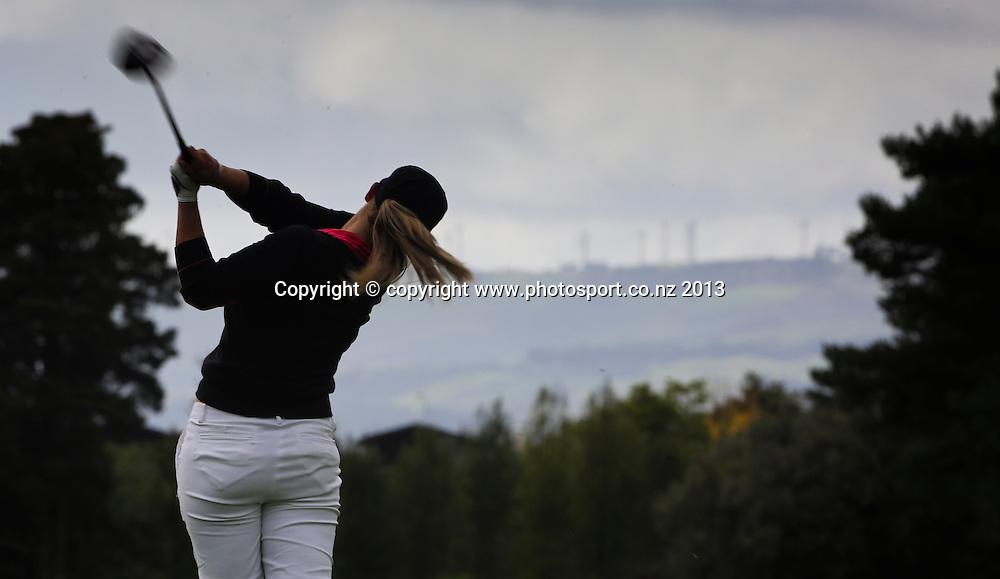 Hanna Seifert on the final day of the 2013 New Zealand Amateur Championship, Manawatu Golf Club, Palmerston North, New Zealand. Sunday 26 April 2013. Photo: John Cowpland / photosport.co.nz