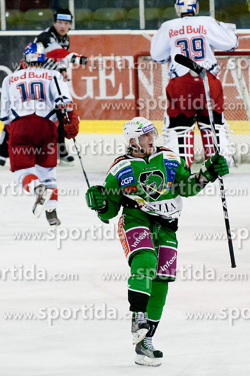 Tomi Mustonen (HDD Tilia Olimpija, #21) celebrates scoring a goal during ice-hockey match between HDD Tilia Olimpija and EC Red Bull Salzburg in 26th Round of EBEL league, on November 27, 2011 at Hala Tivoli, Ljubljana, Slovenia. (Photo By Matic Klansek Velej / Sportida)