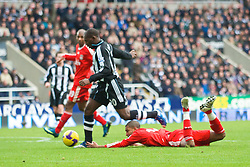 NEWCASTLE, ENGLAND - Sunday, December 28, 2008: Liverpool's David Ngog is brought down by Newcastle United's Geremi for a penalty during the Premiership match at St James' Park. (Photo by David Rawcliffe/Propaganda)