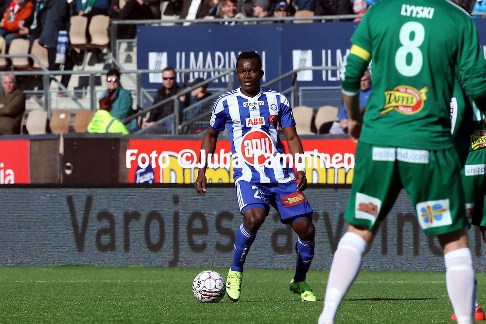 2.4.2016, Sonera Stadion, Helsinki.<br /> Veikkausliiga 2016.<br /> Helsingin Jalkapalloklubi - IFK Mariehamn.<br /> Vincent Onovo - HJK