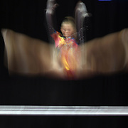 Abigail Milliet, Denton, Texas, in action on the Uneven Bars during the Senior Women Competition at The 2013 P&G Gymnastics Championships, USA Gymnastics' National Championships at the XL, Centre, Hartford, Connecticut, USA. 15th August 2013. Photo Tim Clayton