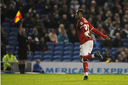 Jonathan Kodjia of Bristol City celebrates but his goal is given offside  - Mandatory byline: Dougie Allward/JMP - 07966 386802 - 20/10/2015 - FOOTBALL - American Express Community Stadium - Brighton, England - Brighton v Bristol City - Sky Bet Championship