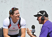 Belgrade, SERBIA.Martin CROSS, interviews, Katherine GRAINGER after her victory in the women's double scull with partner Anna WATKINS.  2012 FISA World Cup I   Sunday  06/05/2012   [Manatory Credit. Peter Spurrier/Intersport Images], Bronze Medalist Men;s Single Sculls
