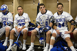 18 May 2008: Duke Blue Devils attackman Max Quinzani (8), midfielder Michael Young (27), midfielder Mike Catalino (29) and defenseman Tony McDevitt (44) before a 21-10 win over the Ohio State Buckeyes during the NCAA quarterfinals held at Cornell University in Ithaca, NY.