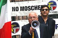 "Roma 6 Settembre 2007  .Manifestazione  del partito  ""La Destra""  contro l'apertura di una Moschea al quartiere  Esquilino  .Teodoro Buontempo Presidente del partito ""La Destra""  e Fabio Sabbatani Schiuma, portavoce del partito ""La Destra"" a Roma.Sul manifesto dietro è scritto ""No  Chiese?...No Moschee!.Rome September 6 th 2007  .Demonstration of the party ""La Destra"" against the opening of a Mosque to the district Esquilino  .Teodoro Buontempo President of the party ""La Destra"" and Fabio Sabbatani Schiuma, spokesman of the party ""La Destra"" to Rome.On the Banner  ""No Church?... No Mosques!"
