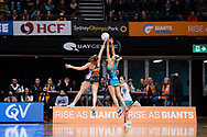 SYDNEY, NSW - JUNE 22: Kate Moloney of the Vixens and Amy Parmenter of the Giants contest for the ball during the round 9 Super Netball match between the Giants and the Vixens at Quaycentre on June 22, 2019 in Sydney, Australia. (Photo by Speed Media/Icon Sportswire)