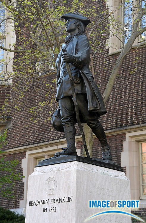 Apr 26, 2018; Philadelphia, PA, USA; Statue of Benjamin Franklin at the University of Pennsylvania during the 124th Penn Relays at Franklin Field.