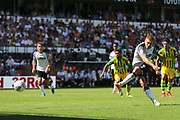 Derby County forward Martyn Waghorn (9) takes his second penalty which is saved by West Bromwich Albion goalkeeper Sam Johnstone (1) 1-0 during the EFL Sky Bet Championship match between Derby County and West Bromwich Albion at the Pride Park, Derby, England on 24 August 2019.