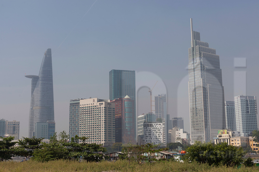 Bitexco Tower and Vietcombank Tower seen from District 2, Ho Chi Minh City, Vietnam, Southeast Asia