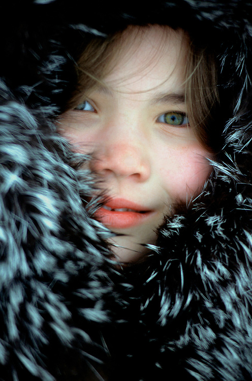 Alaska . Barrow . AJ . Native child in traditional parka . MR