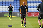 Forest Green Rovers Reuben Reid(26) warming up during the EFL Sky Bet League 2 match between Macclesfield Town and Forest Green Rovers at Moss Rose, Macclesfield, United Kingdom on 29 September 2018.
