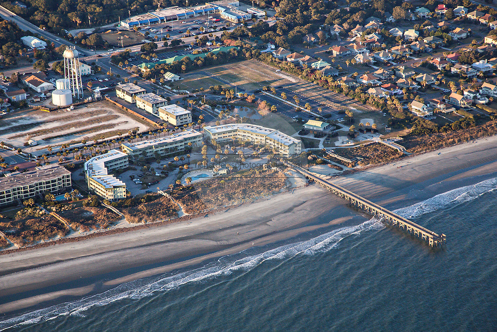 Aerial showing front beach and pier on Isle of Palms, South Carolina.