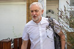 © Licensed to London News Pictures. 01/08/2018. London, UK. Labour Party leader Jeremy Corbyn leaves his north London home. Photo credit: Rob Pinney/LNP
