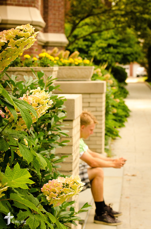 A student relaxes on the front steps of Feth Administration Hall at Concordia College New York on Friday, July 18, 2014, in Bronxville, NY. LCMS Communications/Erik M. Lunsford