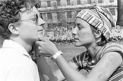 Face painting. 1st Criminal Justice March,Park Lane, London, UK, 1st of May 1994.