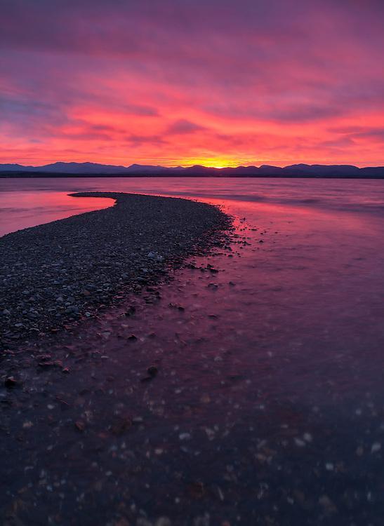 Firey sunset over the Adirondacks and Lake Champlain, Charlotte, Vermont