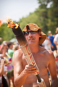 The official torch made from beer cans at the annual Summer Redneck Games Dublin, GA.