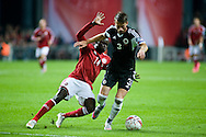 04.09.2015. Copenhagen, Denmark. <br /> Emir Lenjani (L) of Albania fights for the ball with Pione Sisto (R) of Denmark during their UEFA European Champions qualifying round match at the Parken Stadium. <br /> Photo: &copy; Ricardo Ramirez.