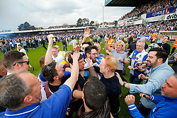 Supporters celebrate with Bristol Rovers Manager Darrell Clarke after Bristol Rovers win the match in injury time to secure 3rd place in League 2, back to back promotions and a place in Sky Bet League 1 for 2016/17 - Mandatory byline: Rogan Thomson/JMP - 08/03/2016 - FOOTBALL - Memorial Stadium - Bristol, England - Bristol Rovers v Dagenham & Redbridge - Sky Bet League 2.