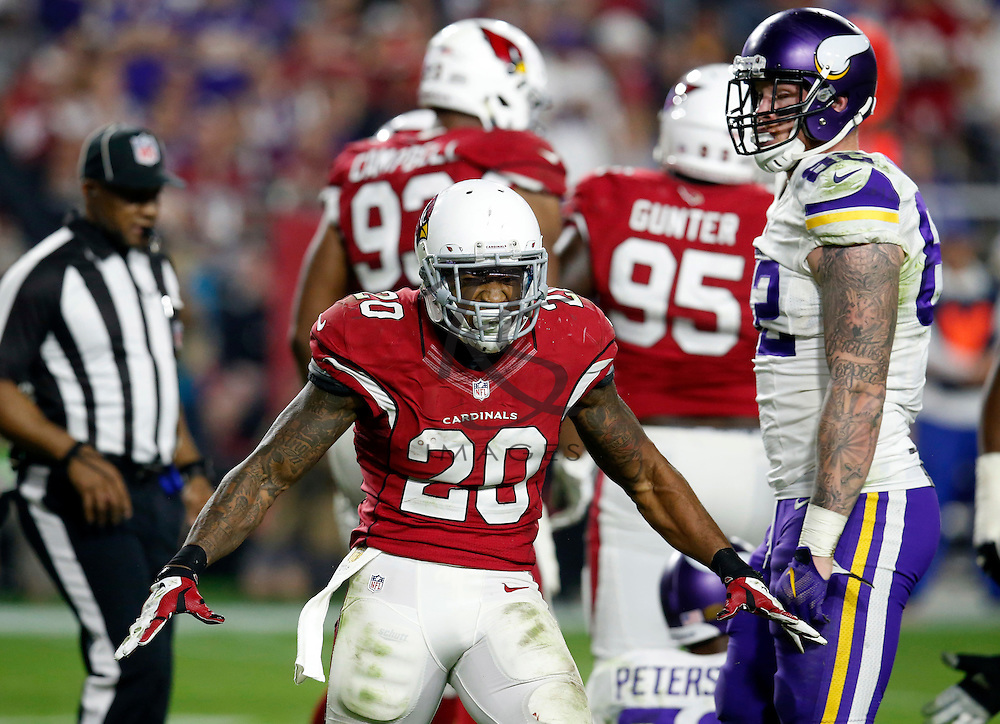 Arizona Cardinals strong safety Deone Bucannon (20) celebrates a stop against the Minnesota Vikings during the second half of an NFL football game, Thursday, Dec. 10, 2015, in Glendale, Ariz. (AP Photo/Rick Scuteri)