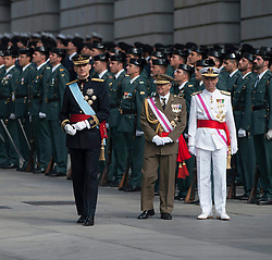 Spain's King Felipe VI (1st L) attends a military review prior to the new king's succession ceremony in Madrid. EXPA Pictures © 2014, PhotoCredit: EXPA/ Photoshot/ Xie Haining<br /> <br /> *****ATTENTION - for AUT, SLO, CRO, SRB, BIH, MAZ only*****