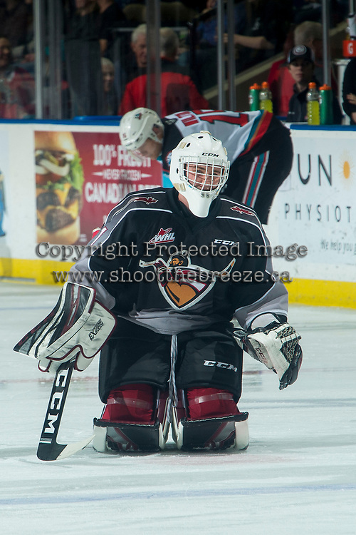 KELOWNA, BC - JANUARY 4:  Drew Sim #1 of the Vancouver Giants warms up on the ice against the Kelowna Rockets at Prospera Place on January 4, 2020 in Kelowna, Canada. (Photo by Marissa Baecker/Shoot the Breeze)