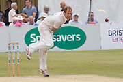 Neil Dexter bowling during the Specsavers County Champ Div 2 match between Gloucestershire County Cricket Club and Leicestershire County Cricket Club at the Cheltenham College Ground, Cheltenham, United Kingdom on 17 July 2019.