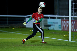 BANGOR, WALES - Tuesday, November 14, 2017: Wales' goalkeeper Luke Pilling during the pre-match warm-up ahead of the UEFA Under-21 European Championship Qualifying Group 8 match between Wales and Romania at the Nantporth Stadium. (Pic by Paul Greenwood/Propaganda)