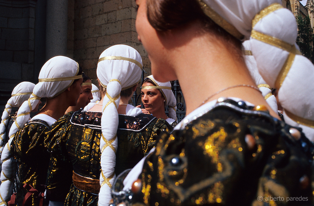 SPAIN / Castile and Leon / Segovia. Medieval recreations in Spain. Girls in Medieval customs. The city recreated in 2004 the coronation of Isabel I of Castile.....